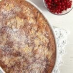 red currant cobbler in casserole dish seen from above