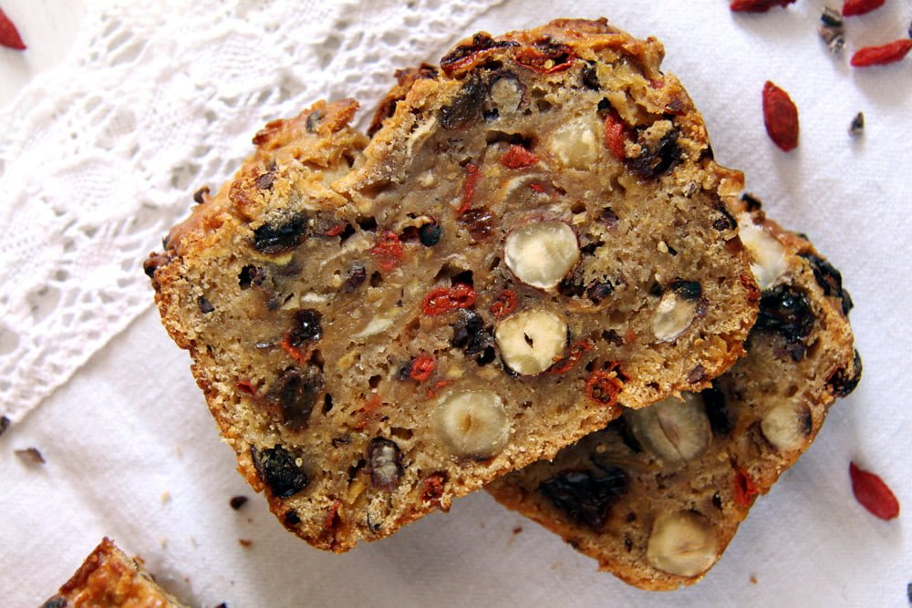 vegan apple bread with trail mix