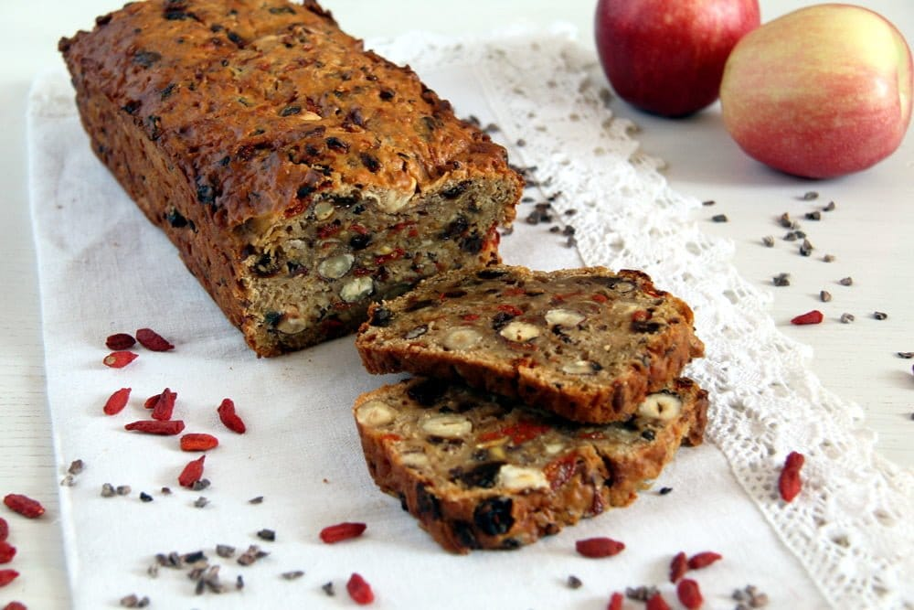 trail mix hazelnuts Trail Mix Apple Bread with Hazelnuts and Spices