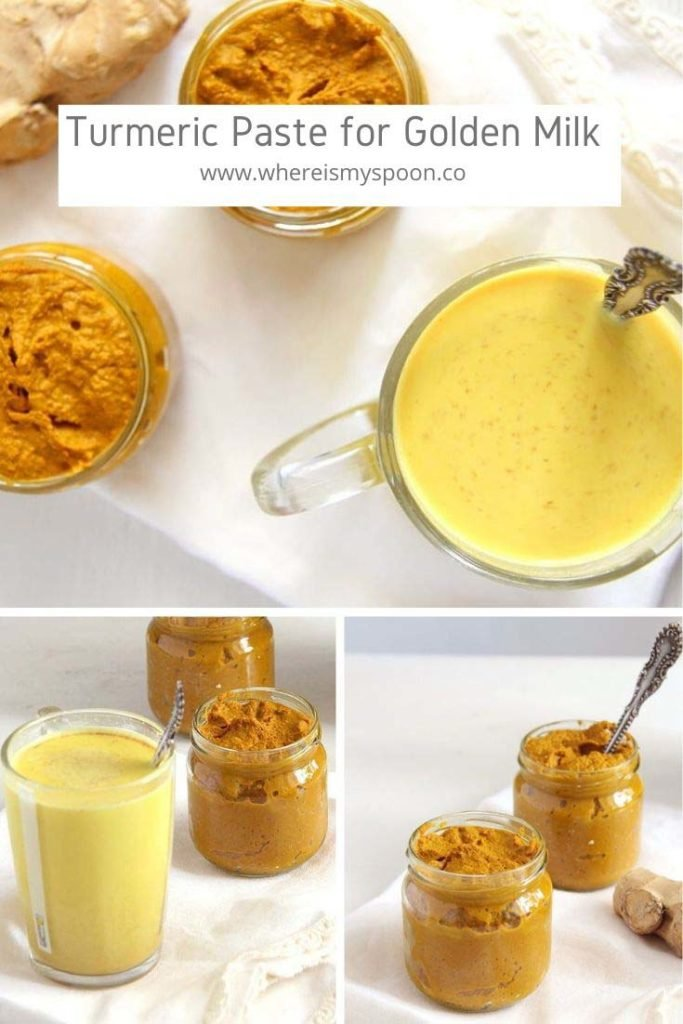 turmeric paste for golden milk in jars and in a cup