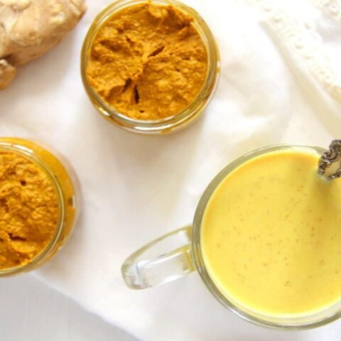 jars with turmeric paste for golden milk