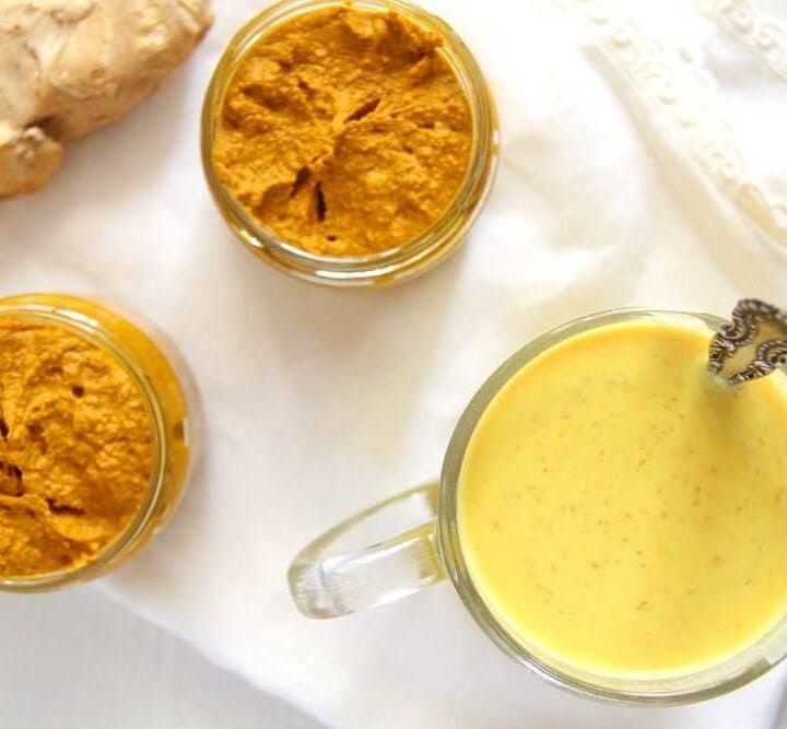 jars with turmeric paste for golden milk