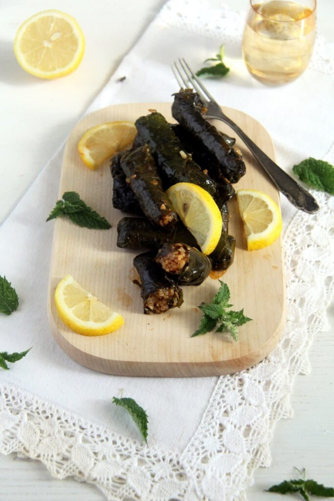 grape leaves 683x1024 Syrian Stuffed Vine Leaves with Rice, Garlic and Herbs