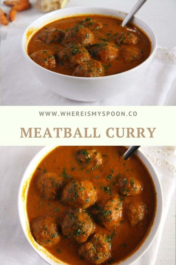 meatball curry in a white bowl