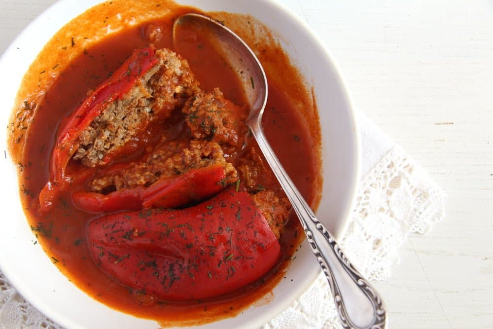 peppers stuffed ground beef Stuffed Peppers with Mince and Rice   in Tomato Sauce