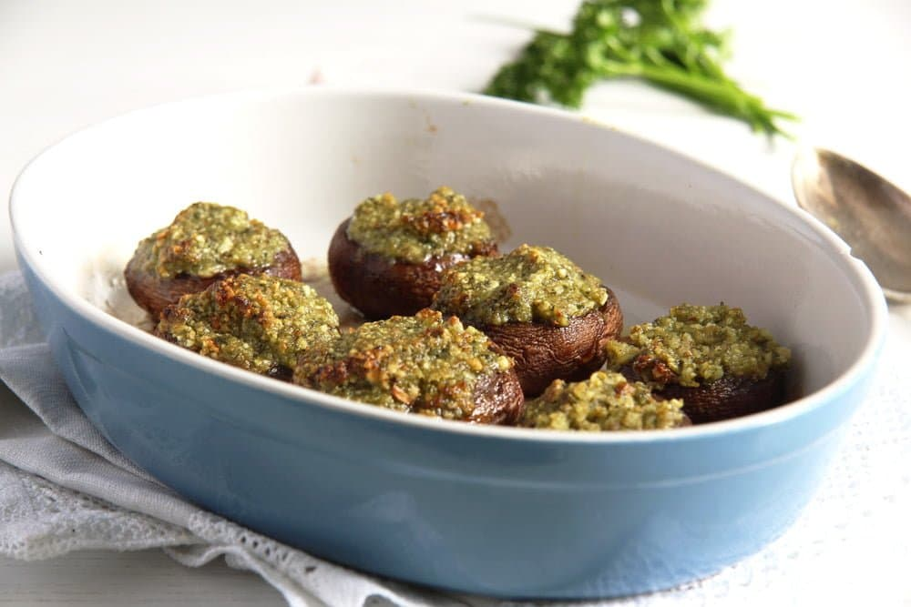 vegetarian stuffed mushroom recipe in a baking dish
