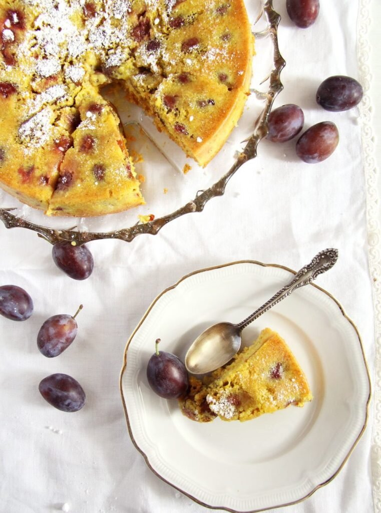 turmeric cake plums 761x1024 Turmeric Plum Cake with Turmeric Paste and Cinnamon
