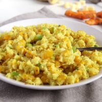 corn rice with cheese and basmati rice