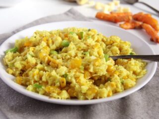 corn rice with cheese and basmati rice