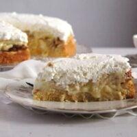 slice of german apple cake with cream