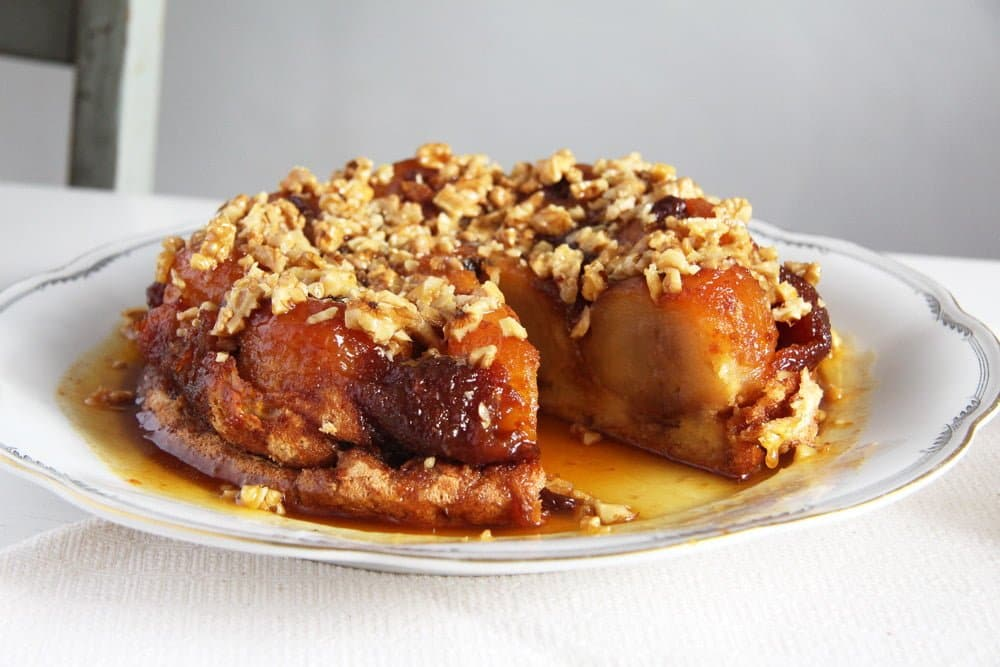 baked apple cake with caramel on a platter