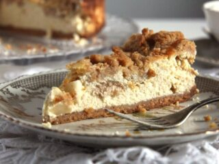 slice of apple streusel cheesecake
