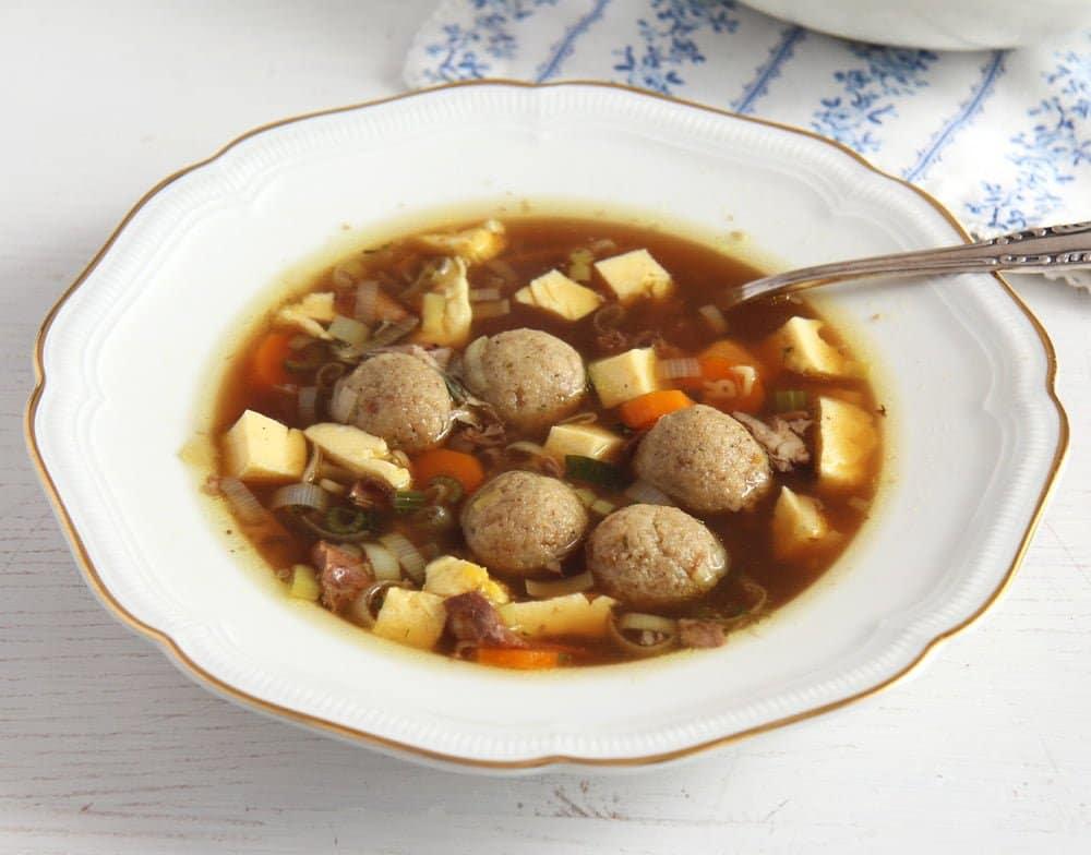 plate of dumpling soup