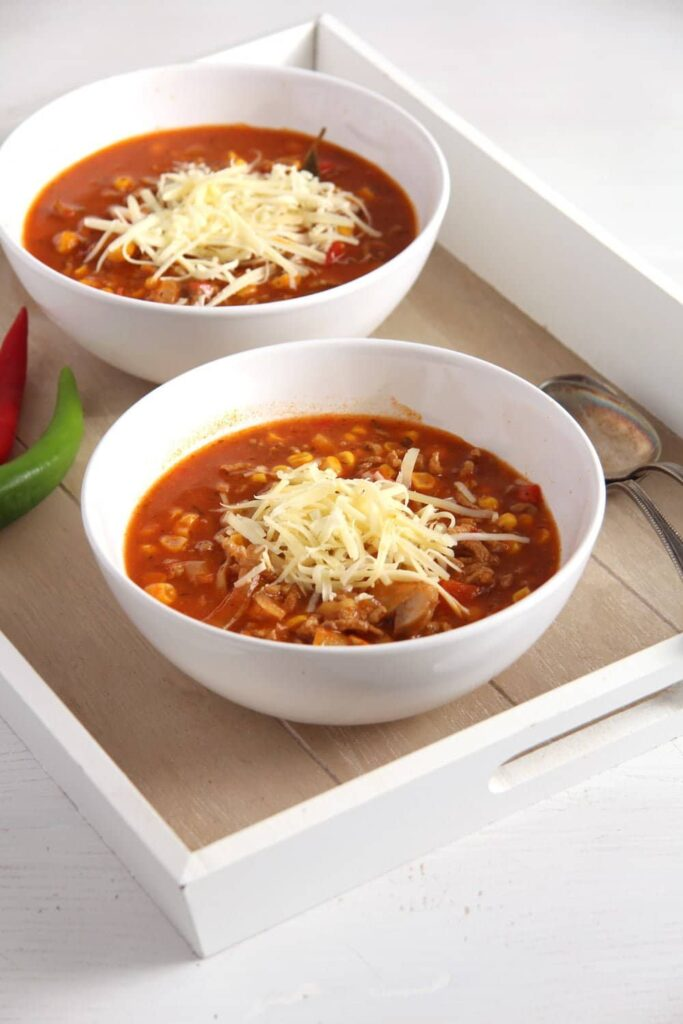 pizza soup mushrooms 683x1024 Pizza Soup with Beef, Mushrooms, Corn and Cheese