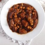 spanish dish with meat and chickpeas