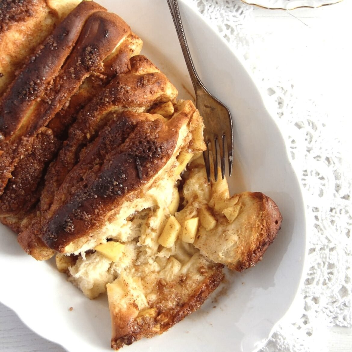 fluffy yeast apple bread with apple pieces inside