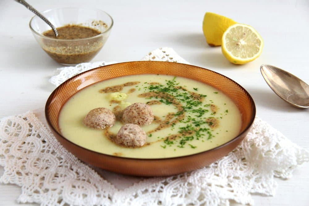 Cauliflower Soup with Almond Balls