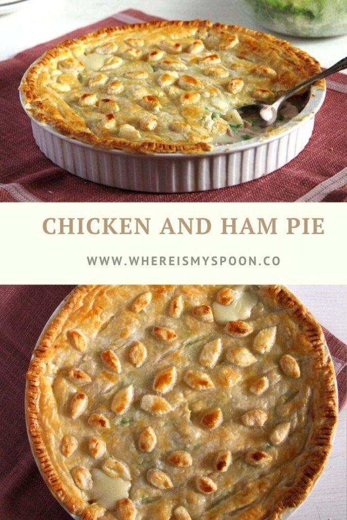 chicken ham pie with puff pastry