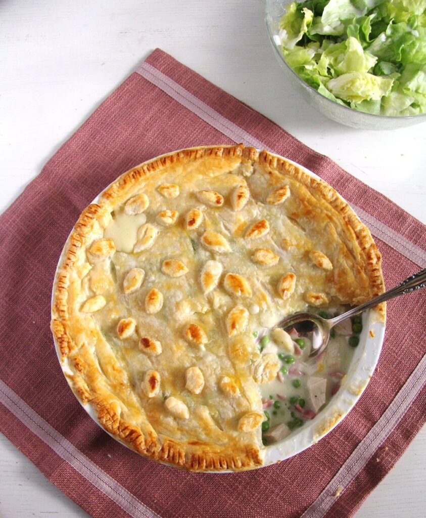 chicken and ham pie ready to be served