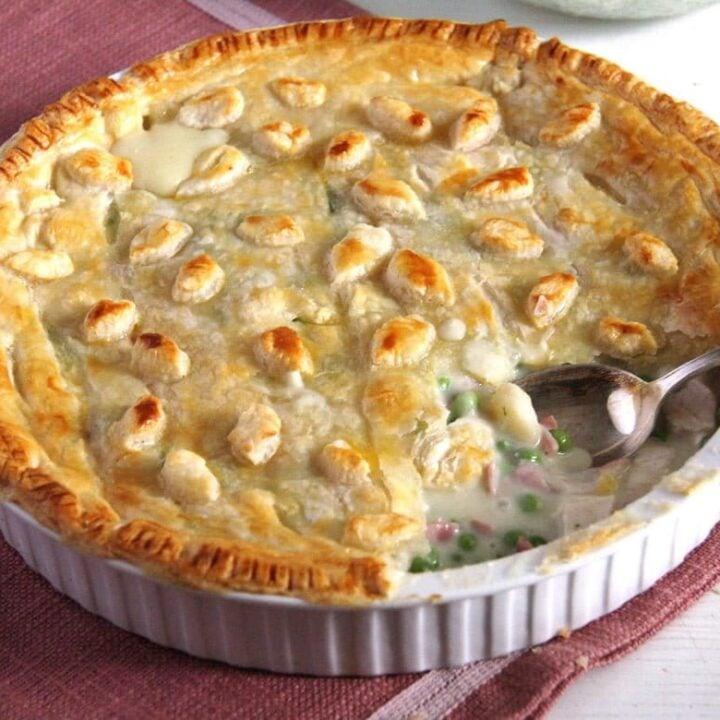 chicken and ham pie in a pie dish