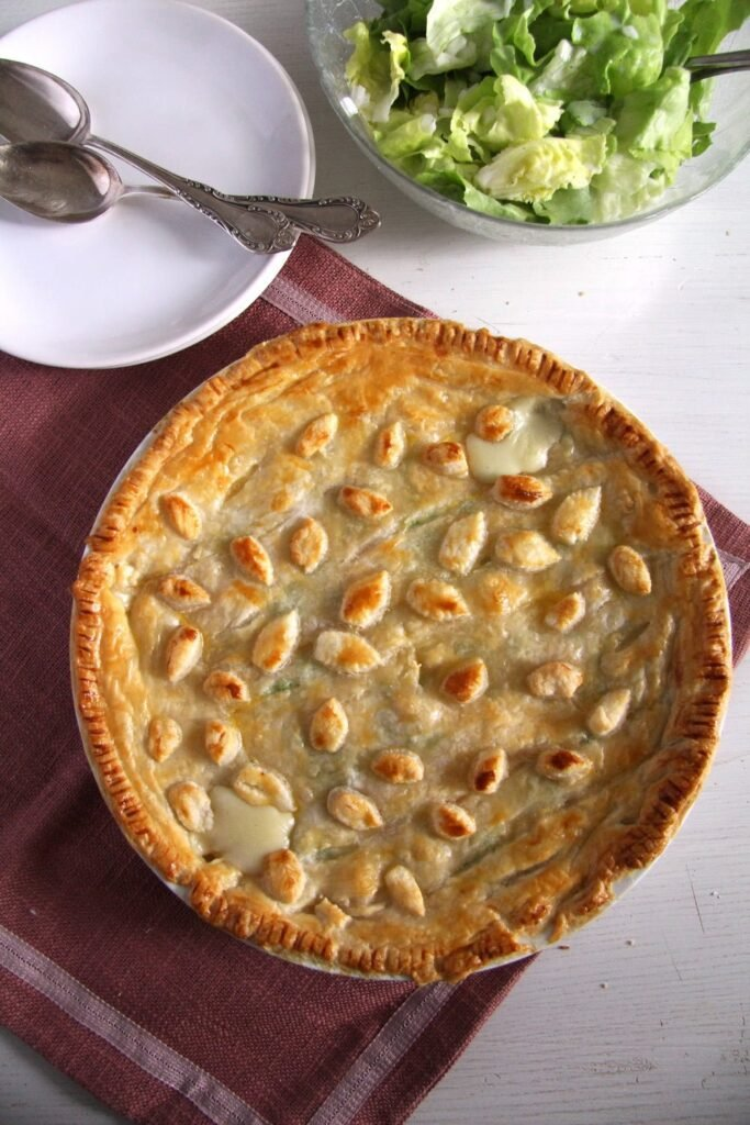 Chicken and Ham Pie with green salad