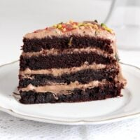 chocolate gateau slices 200x200 Moist Chocolate Gateau or Cake with Chocolate Cream Filling