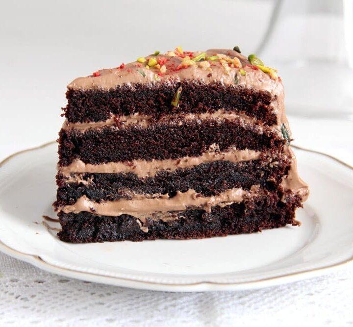 chocolate gateau slice with cream filling