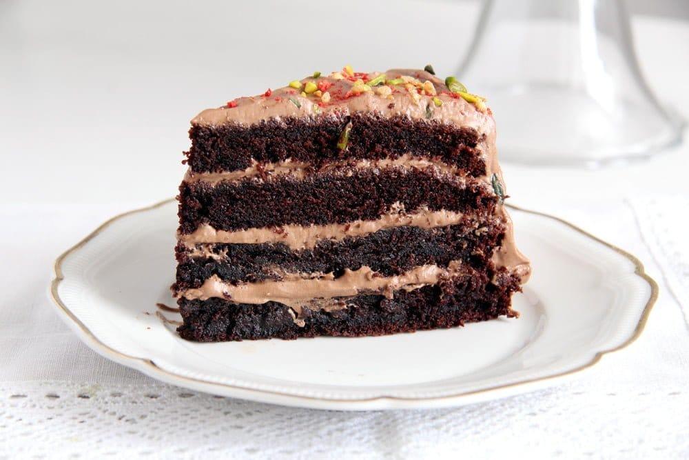 chocolate gateau slices Schoko Bons Torte with Hazelnuts and Mascarpone Filling