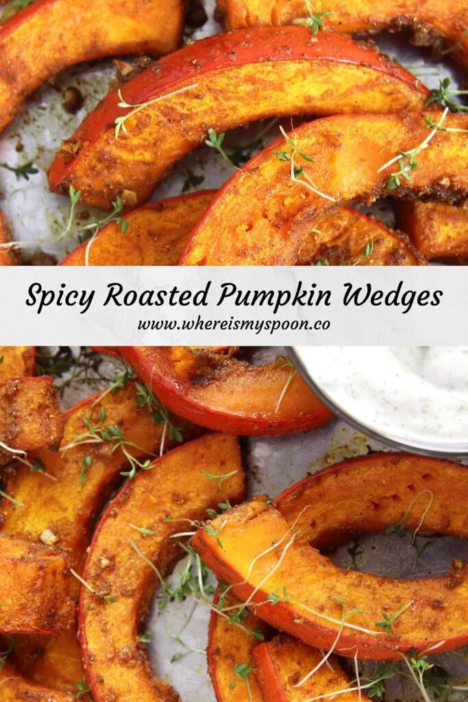 roasted pumpkin wedges in the oven