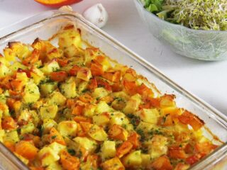 vegan casserole with sprout salad in the back