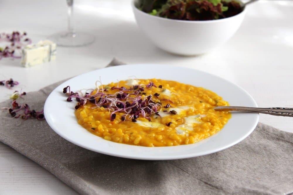 creamy pumpkin gorgonzola risotto
