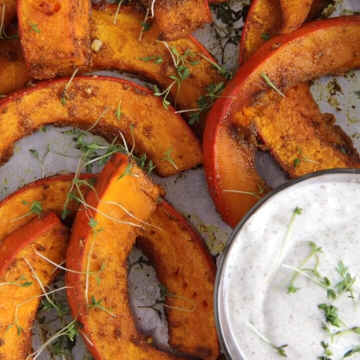 spicy oven roasted pumpkin wedges with dip
