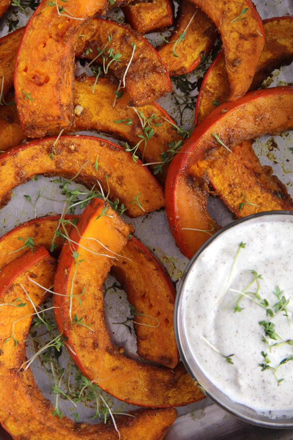 spicy roasted pumpkin wedges