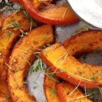 roasted pumpkin wedges with dip