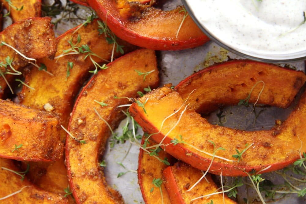 roasted pumpkin wedges with dip