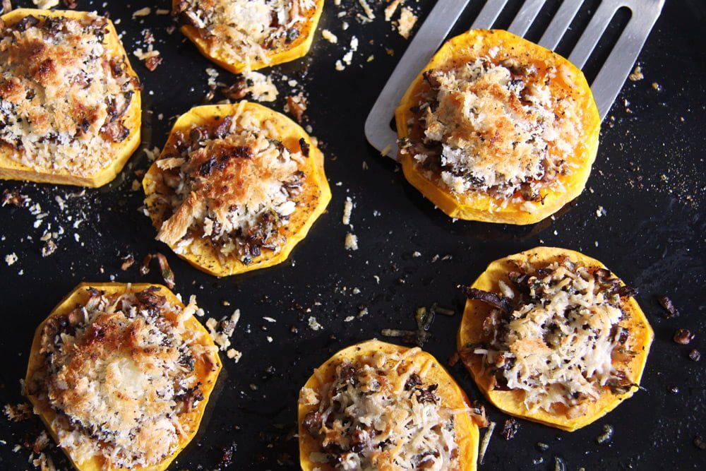 squash slices Baked Butternut Squash Parmesan Slices with Mushrooms