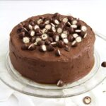 chocolate cake with hazelnuts and candy