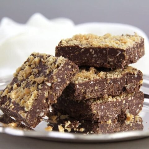 chocolate crispies with caramel
