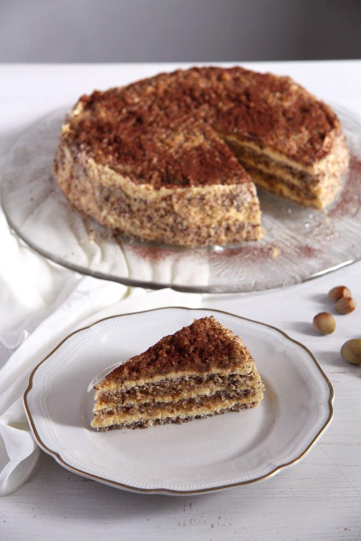 egyptian cake hazelnuts Egyptian Hazelnut Cake with Buttercream and Caramel Filling