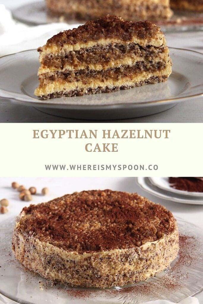 sliced hazelnut cake with buttercream on a plate