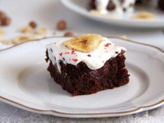chocolate cherry traybake with hazelnuts