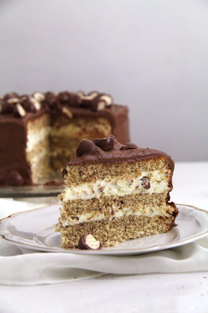 slice of chocolate torte with mascarpone