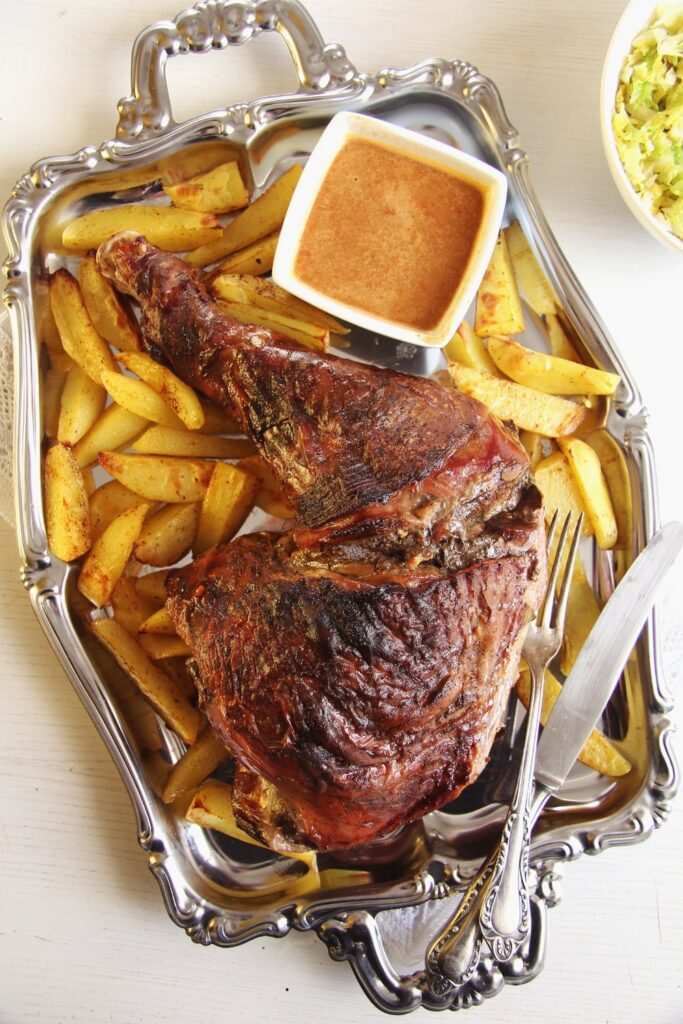 turkey leg potatoes 683x1024 Oven Slow Cooked Turkey Leg with Vegetables
