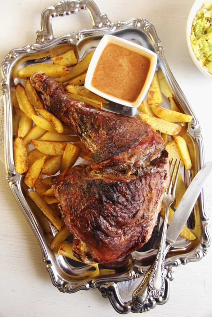 turkey leg potatoes 683x1024 Oven Slow Cooked Turkey Leg