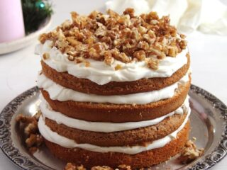 walnut cake with candied walnuts