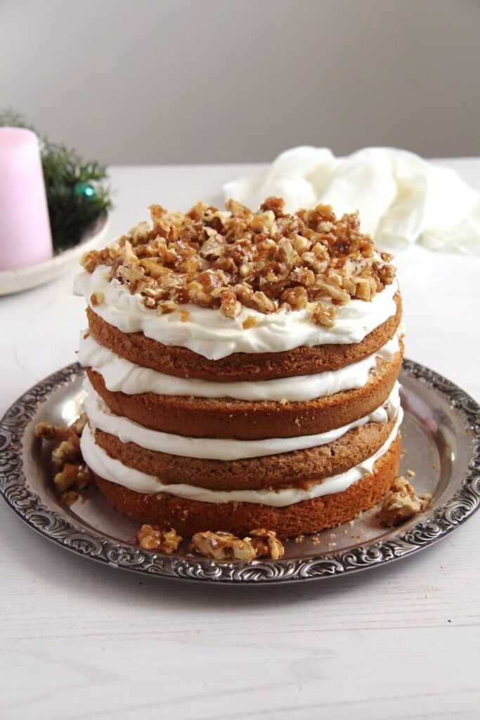 walnut cake caramelized 683x1024 Walnut Cake with Candied Walnuts Recipe