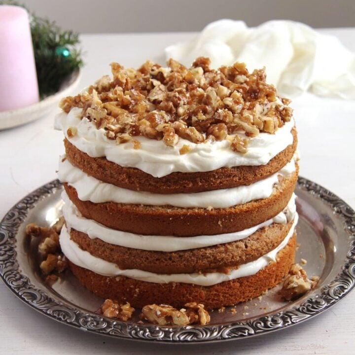 walnut cake with candied walnuts