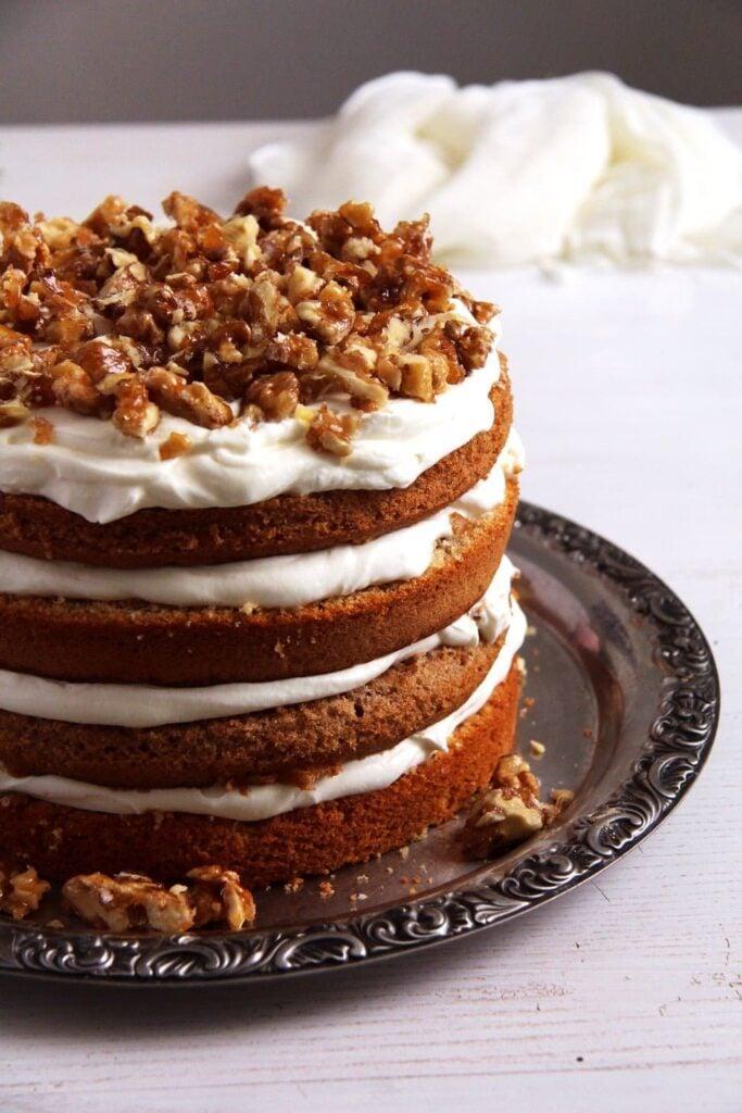 layered walnut cake with candied walnuts