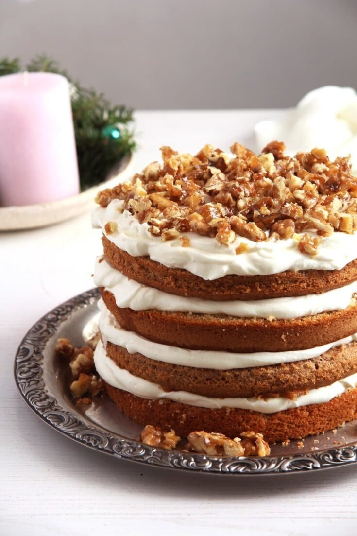 walnuts cake 735x1103 Walnut Cake with Candied Walnuts Recipe