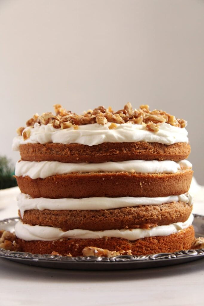 walnuts quark cake 683x1024 Walnut Cake with Candied Walnuts Recipe